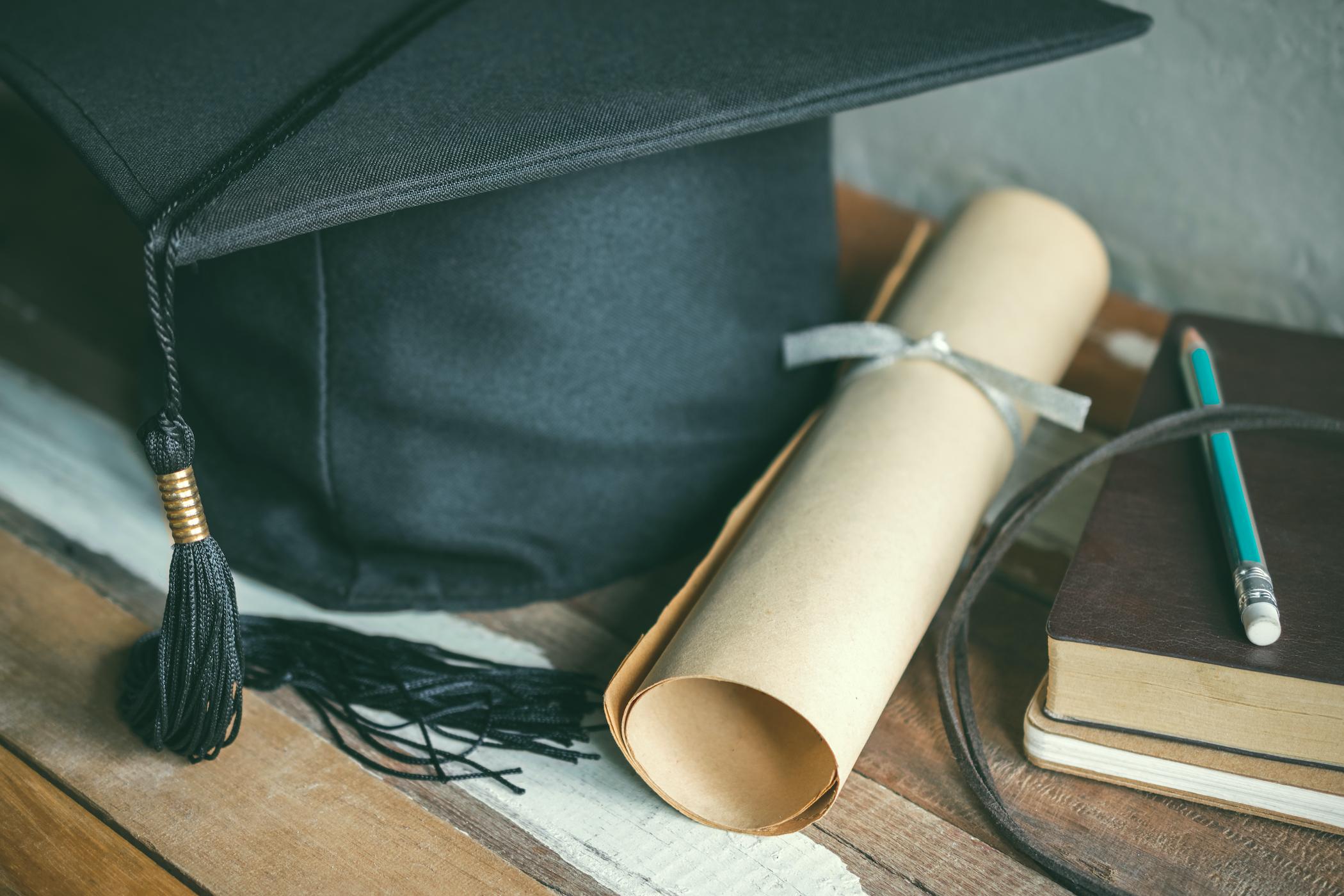 graduation cap scroll